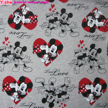 Wide 160cm Mickey Fabric Knitted Cotton Fabric Stretch Mickey minnie Printed Jersey Fabric Patchwork Diy Sewing Baby Clothing
