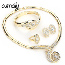 OUMEILY Jewelry Sets Vintage Italian Jewelry Set For Women Imitation Crystal Costume Jewellery Wedding Cheap Indian Jewelry Set(China)
