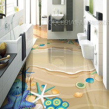 3D Sticker Floor Custom Waterproof 3D-flooring Self adhesive Wallpaper Bathroom Flooring Beach Design