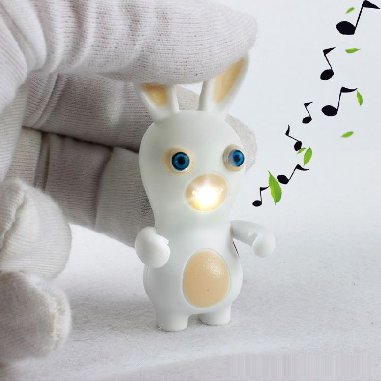 New LED Flashlight Keychina with Sound Action Toy Figures Raving Rabbids Keychain Toys Gift For Child Kids Toys(China (Mainland))