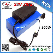 Top Classic 24V 20Ah Electric Scooter Battery with Lithium Battery Pack 18650 3.7V 2.2Ah Cell PVC Cased 24V 15Amp BMS 2A Charger