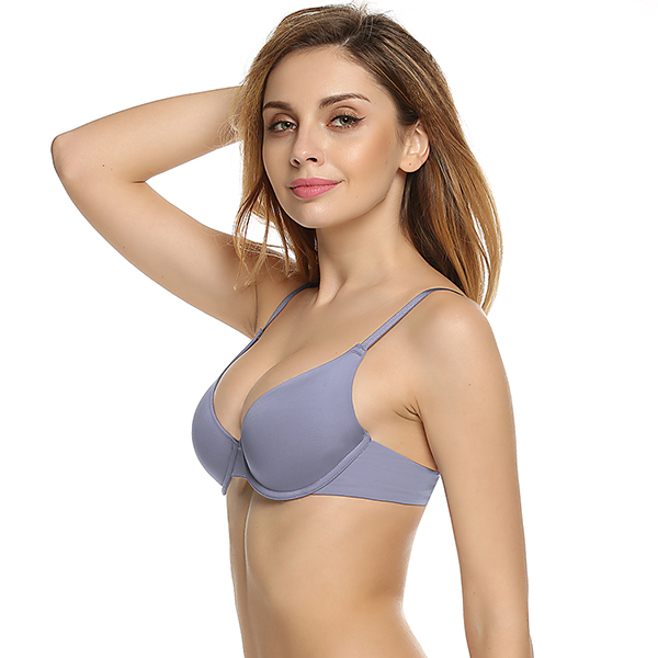 Ekouaer Women Push Up Bra Underwear Backless Intimates Underwire Memory Foam Solid 3/4 Cup A B C D E Soft Bra Charming Sexy Bras 7