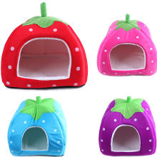 Lovely Foldable Soft Warm Strawberry Cave Dog Bed Cheap Leopard Print Cute Pet House Kennel Nest Dog Fleece Cat Tent Bed