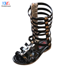 Toddler Girls Gladiator Sandals Kids 2017 New Summer Children PU Leather Knee High Party Shoes Beach Shoes Princess Flats,EJ124