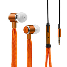 FashionShoelaces Sport Earphone Stereo Metal Bass Headphones Headset Music Earpieces with Microphone for iPhone Xiaomi Samsung