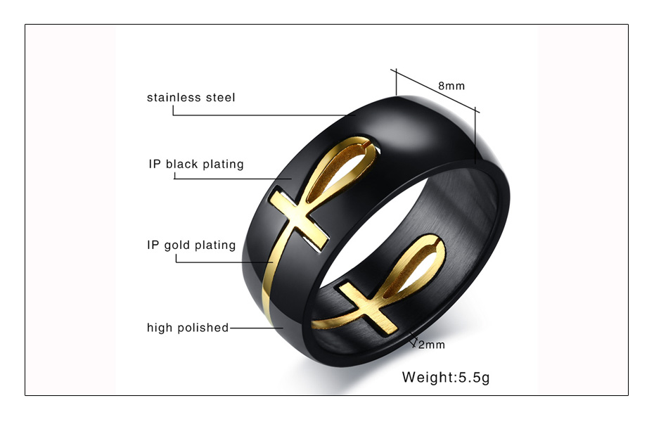 Meaeguet Personalized Separable Ankh Egyptian Cross Ring Black Color Stainless Steel Key of Life Wedding Bands Jewelry (6)