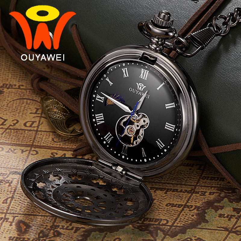 Ouyawei 2017 Mechanical Moon Phase Pocket Watches Retro Black Skeleton Dial Men Automatic Necklace Pocket Fob Watch With Chains<br>