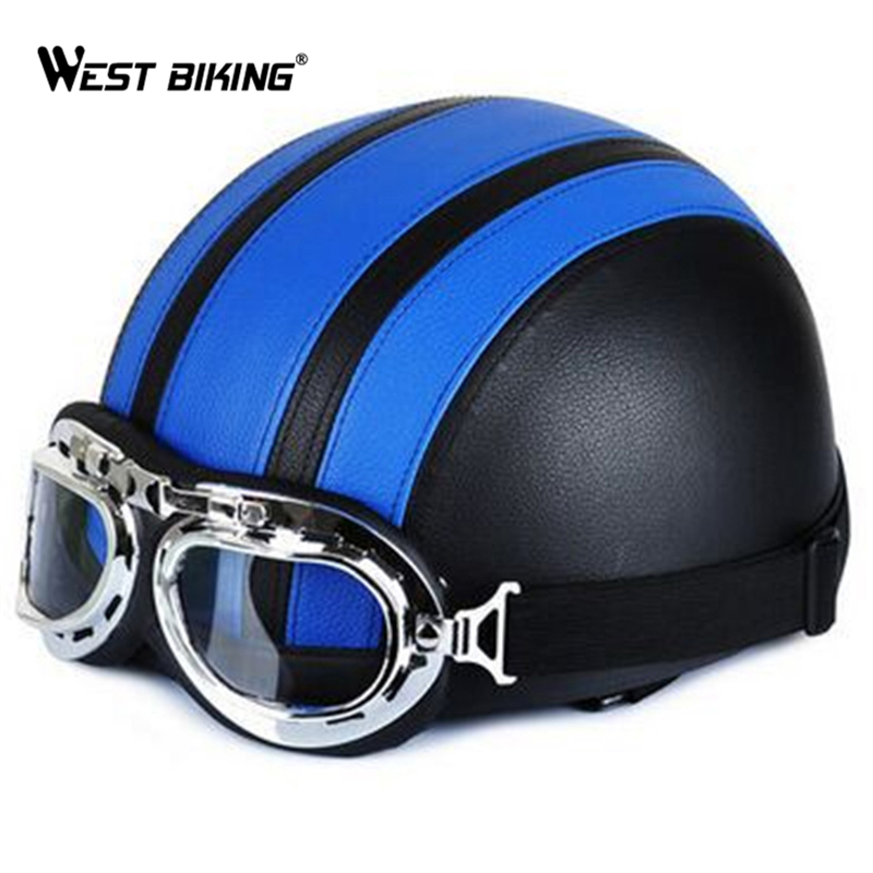 WEST BIKING PU Leather Motorcycle Helmets Bike Bicycle Helmet Open Half Face with Visor Goggles for Men and Women Bicycle Helmet<br><br>Aliexpress