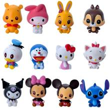 12pcs/set Classic Cartoon Action Figure Mickey Minnie Mouse Hello Kitty Stitch Doraemon Action Figures Toys Model Toy for Girls(China)