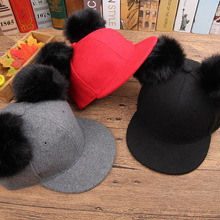 New Cartoon baby boys girls hats Woolen Baseball Cap for Children Adjustable spring winter Hat with Ears for 2-7Years(China)