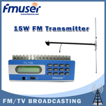 Free shipping FMUSER FU-15B 0-15w FM transmitter PC control SWR protect 1/2 wave DIPOLE antenna high gain KIT