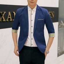 2017Hot Sales New Arrival Spring Fashion Sapphire Color Stylish Slim Fit Men's Suit Jacket Casual Business Dress Blazers(China)