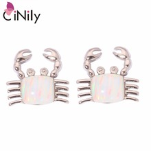 CiNily Created White Pink Blue Fire Opal Silver Plated Wholesale Crab for Women Jewelry Stud Earrings 10mm OH2551-OH2553(China)