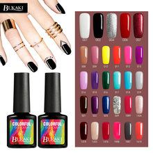 BUKAKI Pure Colors Painting Gel Nail Polish Colorful UV LED Lamp for Gel Varnish Paint Enamel Gel Lacquer Nail Design(China)