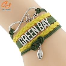 Infinity Love GREEN BAY State Packers football Team Bracelet Customized Wristband friendship Bracelet Wording variety(China)