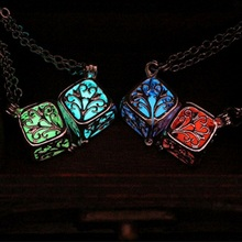 Hot Sale Vintage Women Luminous Beads Necklace Hollow Flower Square Cube Pendant Chain Silver Plated Necklaces Jewelry For Gift