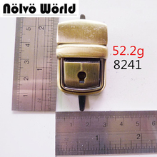 Nolvo world Vintage Brushed antique brass metal press lock closures clasp fixed for making purse style handbag metal closure