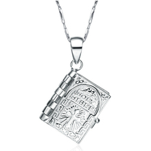 925 Sterling Silver Oratio Dominica Bible openable pendant necklace The Lord's Prayer can open Christian jewelry high quality