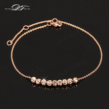 Double Fair Simple Style Metal Beads Anklets Chain Rose Gold Color/Silver Tone Fashion Jewellery/Jewelry For Women DFA020(China)