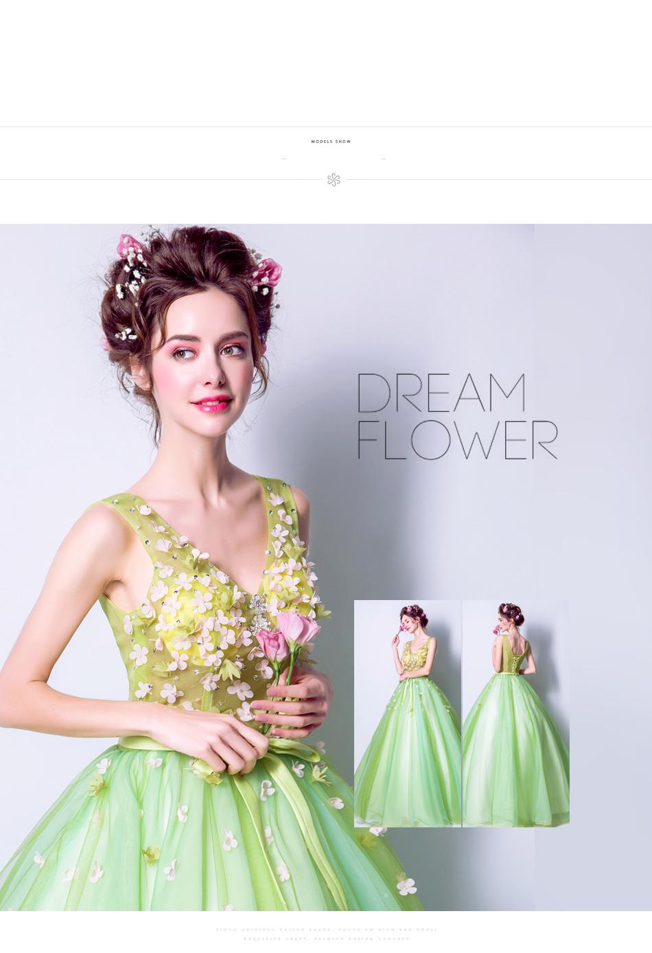 Angel Wedding Dress Marriage Bride Bridal Gown Vestido De Noiva 2017Soft powder, Qingjian Lvxian beauty, petals, green 9718 5