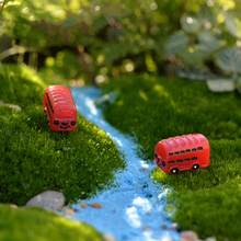 2 pcs/pack Resin Red Bus DIY Bonsai Fairy Garden Mosses Succulents Miniatures Micro Landscape Mini Figures Wholesale Car Toys