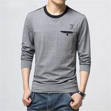 Man T-shirt High Qualith Fashion Rushed Sale Pocket Casual Full Cotton Spandex O-neck Solid Knitted Men Long Sleeve T Shirts