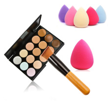 New 15 Color Concealer Palette + Wooden Handle Brush + Teardrop-shaped Sponge Puff Makeup Base Foundation Concealers Powder Hot