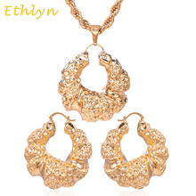 Ethlyn Arrival Nigerian big hoop earrings Pendant Sets wedding jewelry charms Rose Gold African Ethiopian Jewelry wholesale S030