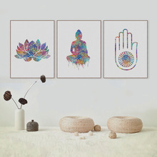 HAOCHU Indian Style Colorful Rainbow Buddhism Called Lotus Buddha Oil Canvas Painting Poster Pictures Living Room Easter Gift(China)