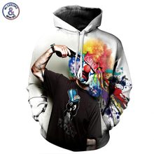 Mr.1991INC Autumn Winter Fashion Men/women Hoodies With Cap Print Gun Clown Hooded Hoody Sweatshirt 3D lovely Tracksuits(China)
