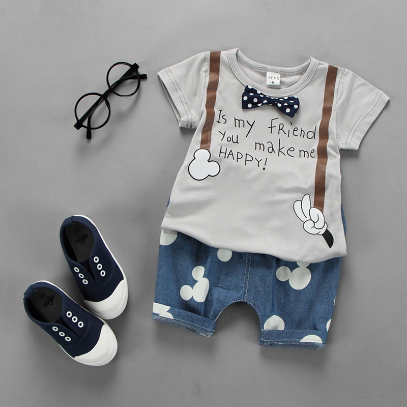 2016 new summer infant outfit letter print t shirt+mouse pattern pants 2pcs baby boys clothes set roupa infantil newborn boy set<br><br>Aliexpress