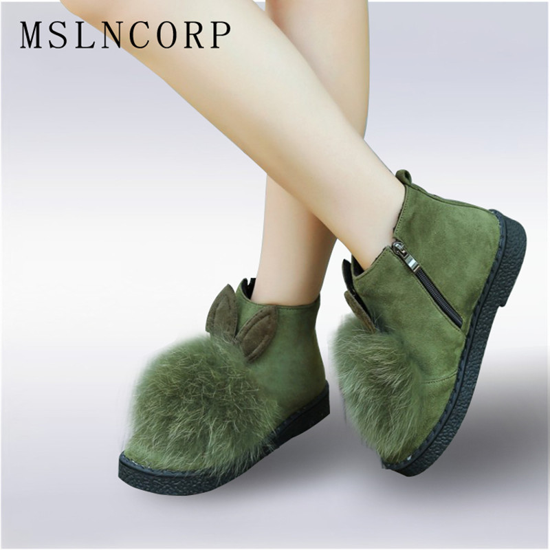 Plus Size 34-45 New Thick Natural Rabbit hair ears Women Shoes Flat Ankle Boots Female Cute Fur Ball Cold Winter Warm Snow Boots<br>