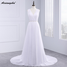 Dress Bride Ivory Chiffon Open Back 2017 Greek Style Vestidos Wedding Dress Sleeveless Floor Length Sexy Wedding Dress(China)