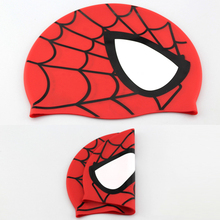 Hot Spider-man Children Elastic Cartoon Swimming Cap Red/Blue Waterproof Swimming Hat for Kids/Teenagers(China)