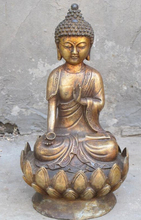 "[Nice Discount ] 12""Chinese plain Bronze gilded saber-toothed lotus platform Amitabha Buddha"