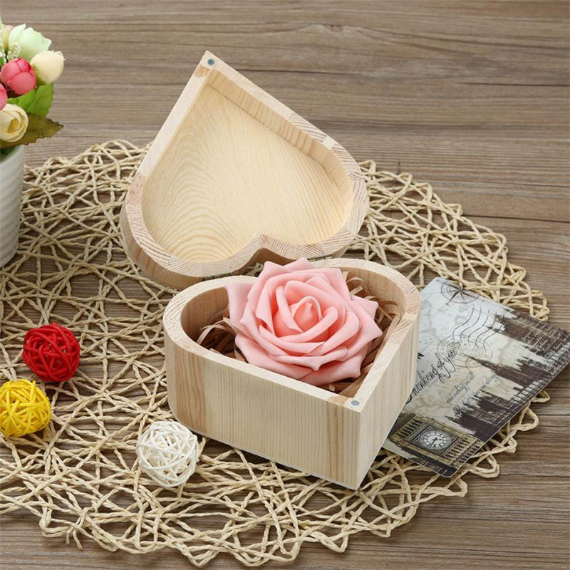 2018 new Fashion Portable Heart Shaped Wooden Storage Box Jewelry Wedding Gift Case Reusable  Box Hot selling good quality C020802