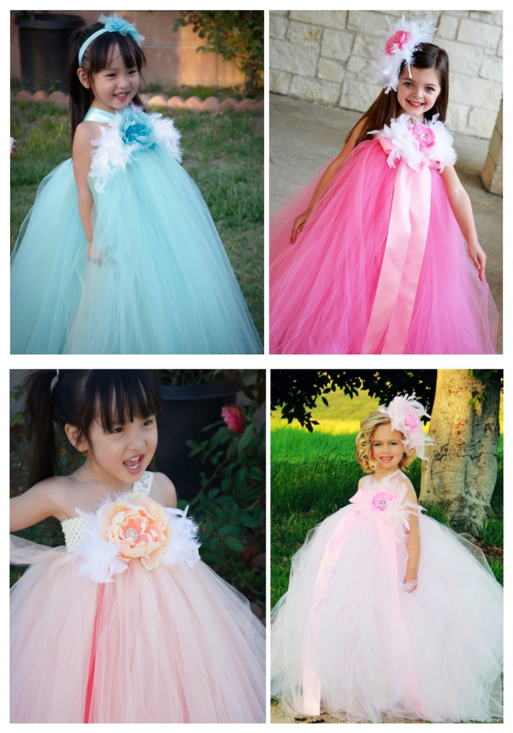 With Feather 4 Colors Flower Girl Dress For Baby Girl Wedding Evening Christmas Party Princess Tutu Set Girls Birthday Outfit<br><br>Aliexpress