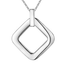 silver Fashion Nice Round Square Pendant Charm Necklace 18inch Wholesale Price Factory Direct Sale jewelry square round(China)