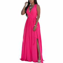 YJSFG HOUSE Women Sexy Casual Long Maxi Beach Dress Elegant Ladies Evening Party Dress Sleeveless Split Robe Femme Plus Size