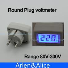 LCD AC Digital Voltage meter Voltmeter  80-300V Switch EURO 2 Round Plug Volt Power Monitor AC Panle Meter blue backlight