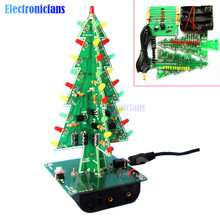 1Set 3D Christmas Tree LED DIY Kit Red/Green/Yellow LED Flash Circuit Kit Electronic Fun Suite Christmas Gift