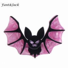 Fant&Jack Halloween Vintage Vampire Wing Bat Brooch Women Man Dancing Party Dress Bat Brooches Pins Accessory(China)