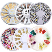 1 Box Metal Nail Art Sticker Polymer Clay Tiny Fimo Acrylic Bow Laser Sequins Dry Flowers Accessories Nail Decoration Wheel