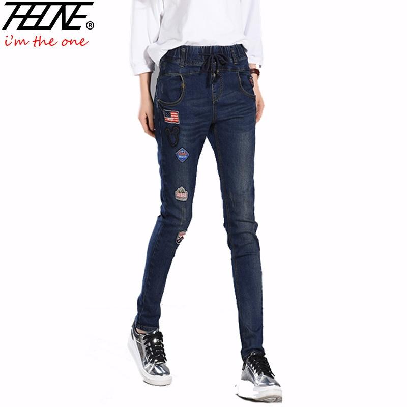 2017 Embroidery Jeans Women Denim Long Casual Trousers Fashion Skinny Pencil Pants Elastic Waist Boyfriend Jeans Harem PantsОдежда и ак�е��уары<br><br><br>Aliexpress