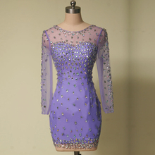 New Style Mini Lavender Cocktail Dress Long Sleeve Rhinestones Tulle Short Sheath Party Gown vestidos de coctel Custom Made C23