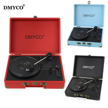 DMYCO Bluetooth Portable Stereo USB Vinyl Music Turntable Audio Record Player 3-Speed Suitcase Support USB/Aux-in for CD Player(China)