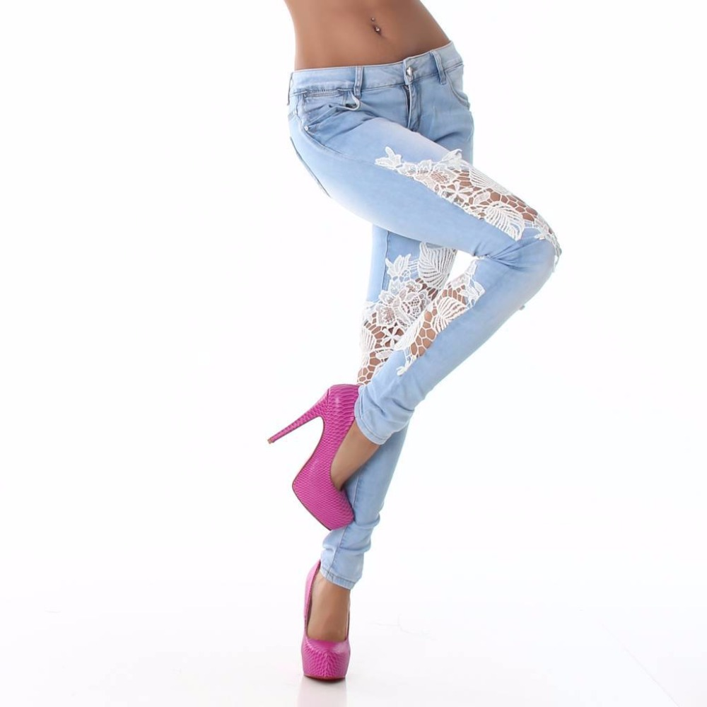 Wholesale female 2017 new fashion lace side stitching uique slim stretch denim pants womens hollow out girl elastic pencil pantsОдежда и ак�е��уары<br><br><br>Aliexpress