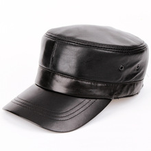 fashion men and women leather flat hat black leather hat baseball cap for men accessory(China)