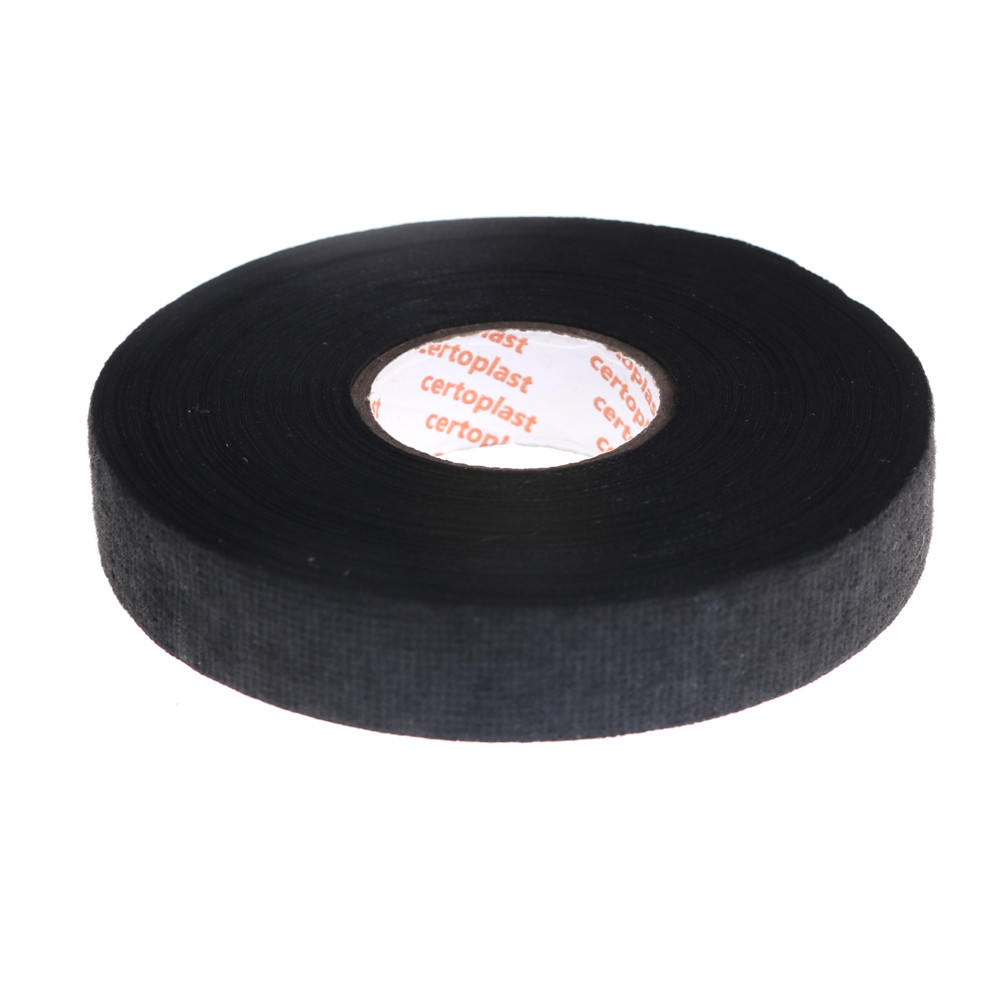 19mmx25m Automotive Wiring Harness Flannelet Glue High Temperature Tape Black Universal Flannel Fabric Cloth Tape