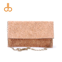 Full Cork Crossbody Bag Wholesale Blanks Women Envelope Clutch Handbag with Bronze Metal Chain Free Shipping DOM106964(China)